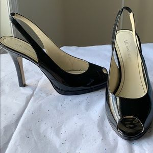 Anne Klein Akquent Leather Upper Peep-Toe Heels